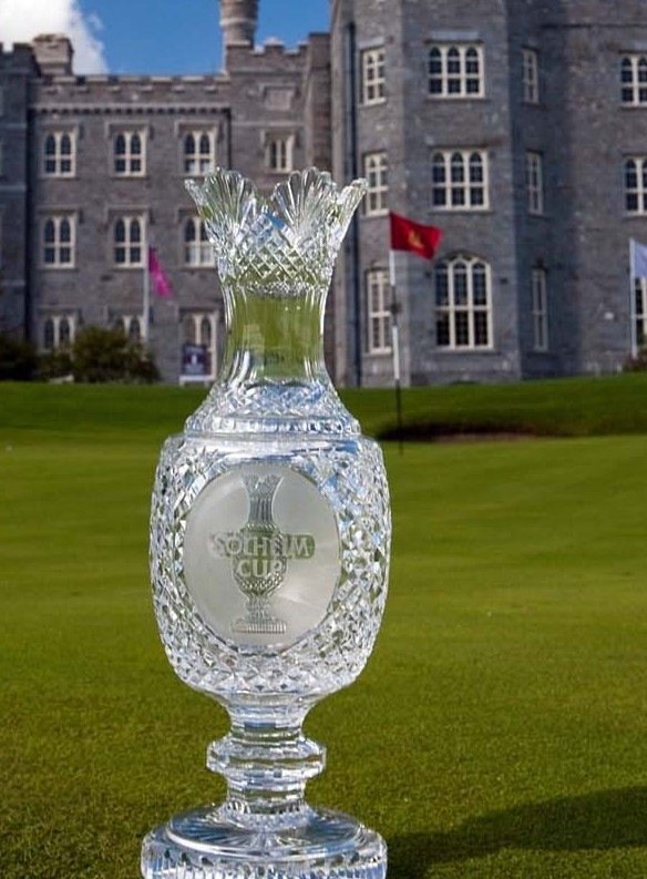 The Solheim Cup Trophy pictured in front of Killeen Castle, the venue for the 2010 Solheim Cup