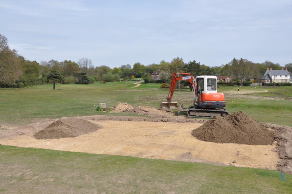 Piltdown Speedcut at work on the new ladies tee at the 18th at Piltdown Golf Club 1