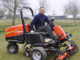 Steve Lloyd with a Jacobsen TR3 mower at Burghilll Valley Golf Club