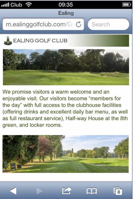 Ealing Golf Club smartphone presentation