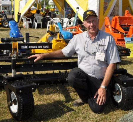 BLEC Global's Gary Mumby with the new Power Box Rake at Saltex 2013, several of which were sold. www.blec.co.uk