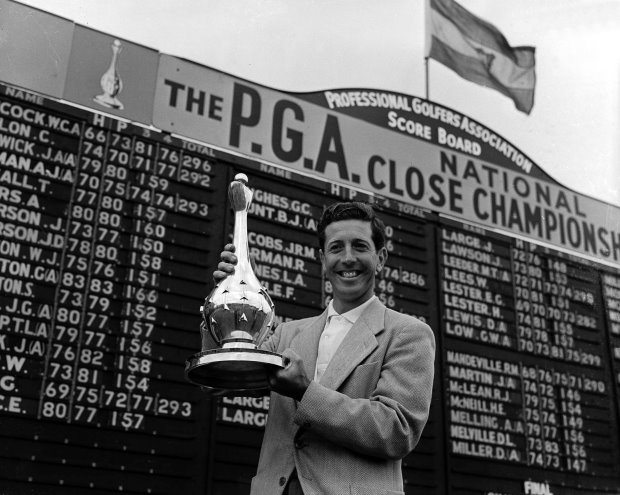 Golf; National Closed at Pannal, Yorkshire 1955; Ken Bousfield proudly holds up his trophy after winning the first PGA closed in a year when he also succeeded in winning the German Open and the Matchplay Championship at Walton Heath.