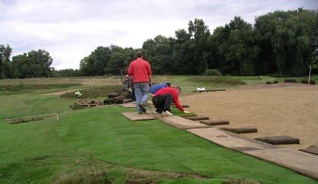 Speedcut Contractors staff relaying greens turf at Piltdown Golf Club, East Sussex. www.speedcutcontractors.co.uk
