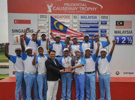 Malaysian Team celebrate Causeway Trophy victory