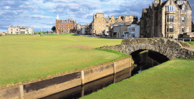 St Andrew Old Course 18th from Swilken Bridge