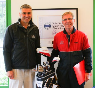74c1f99c44cd Dennis Excell on the right is presented his retirement gift of a set of  golf clubs