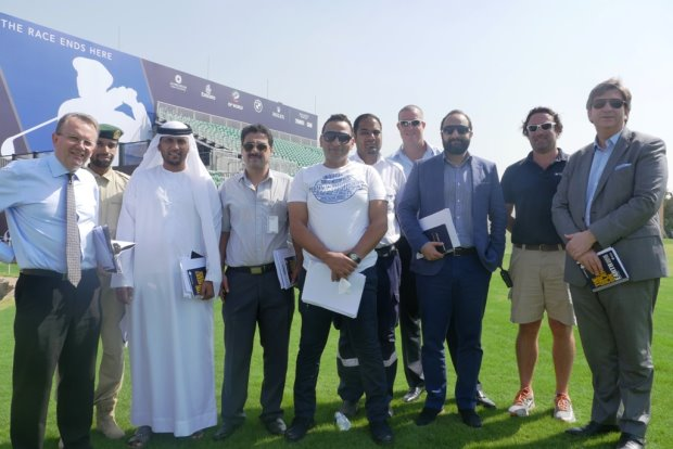Nick Tarratt European Tour 1st Warrant Officer Moosa Al Halyan Dubai Police and Julian Small Jumeirah Golf Estates with the DP World Tour Championship team – RESIZE