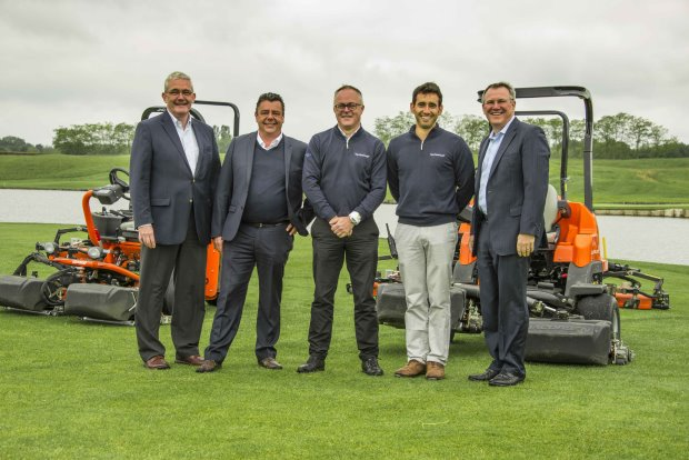 (from right) David Withers, President of Jacobsen; Alejandro Reyes, superintendent of Golf National; Paul Ian Armitage, General Manager of Golf National; Laurent Proupin, General Manager of Ransomes Jacobsen France; and Alan Prickett, Managing director of Ransomes Jacobsen Ltd on the fairway of the 18th hole on the Albatros, the tournament course