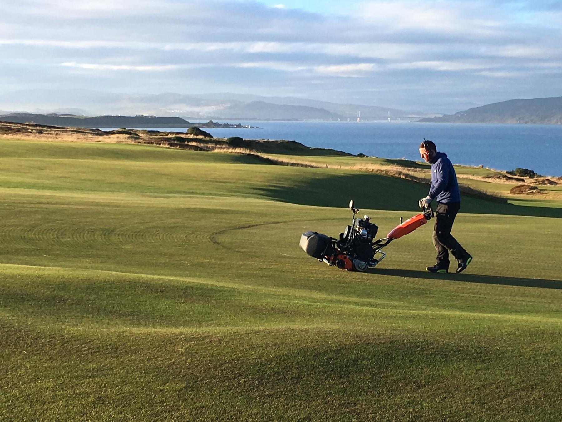 Castle Stuart Golf Links green cutting December 2016