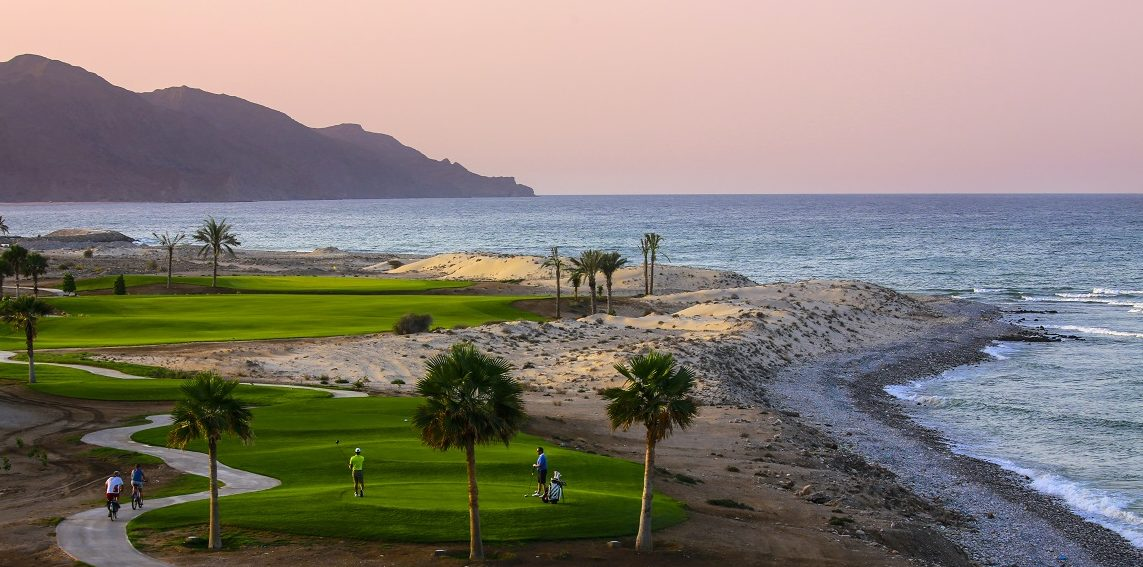 The golf course in Jebel Sifah