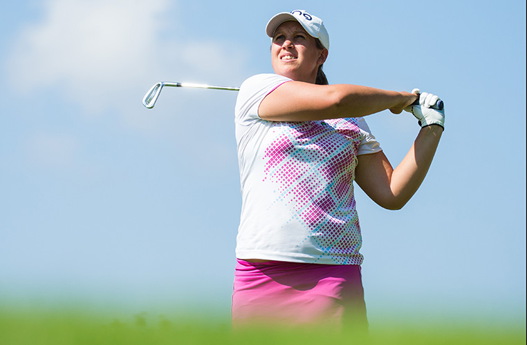 Liz Young of England during the first round