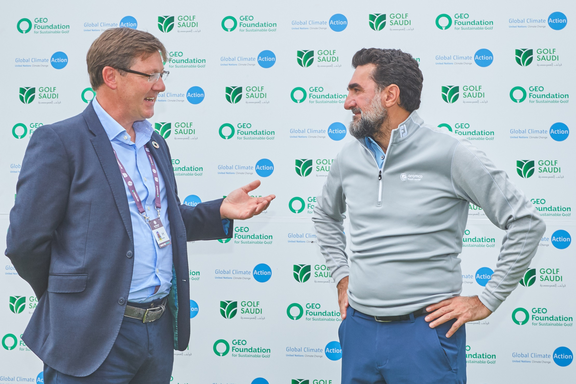 (L-R) Jonathan Smith, Executive Director and Founder, GEO Foundation and His Excellency, Yasir Al-Rumayyan, Chairman, Golf Saudi